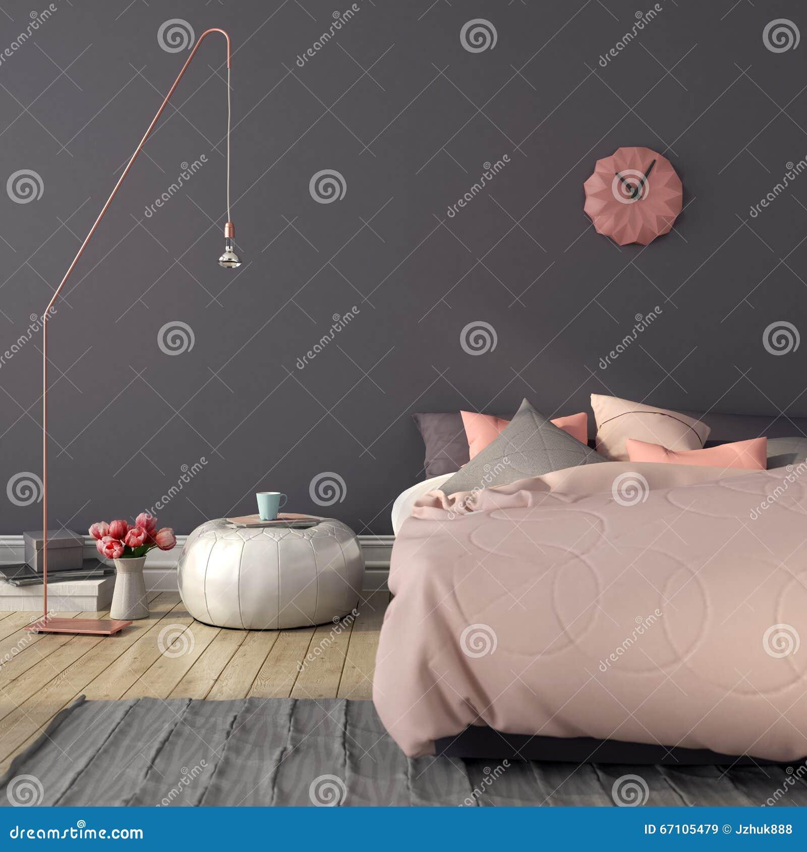 Slaapkamer In Roze En Grijze Kleur Stock Foto - Afbeelding: 67105479