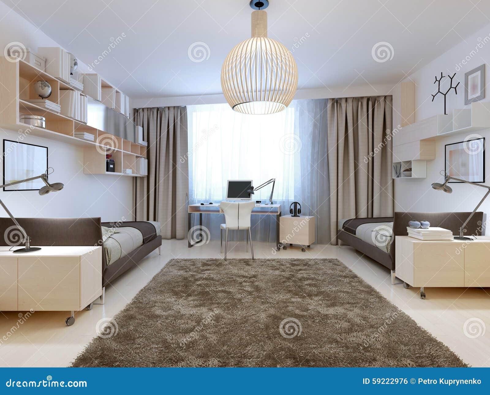 Slaapkamer voor twee tenagers eigentijdse stijl stock foto