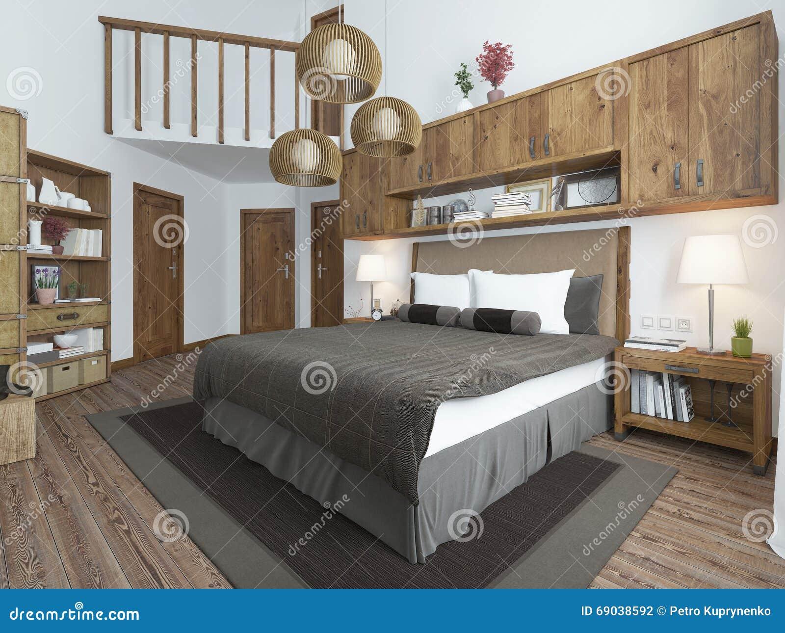Slaapkamer zolder stijl met houten meubilair en witte muren stock ...