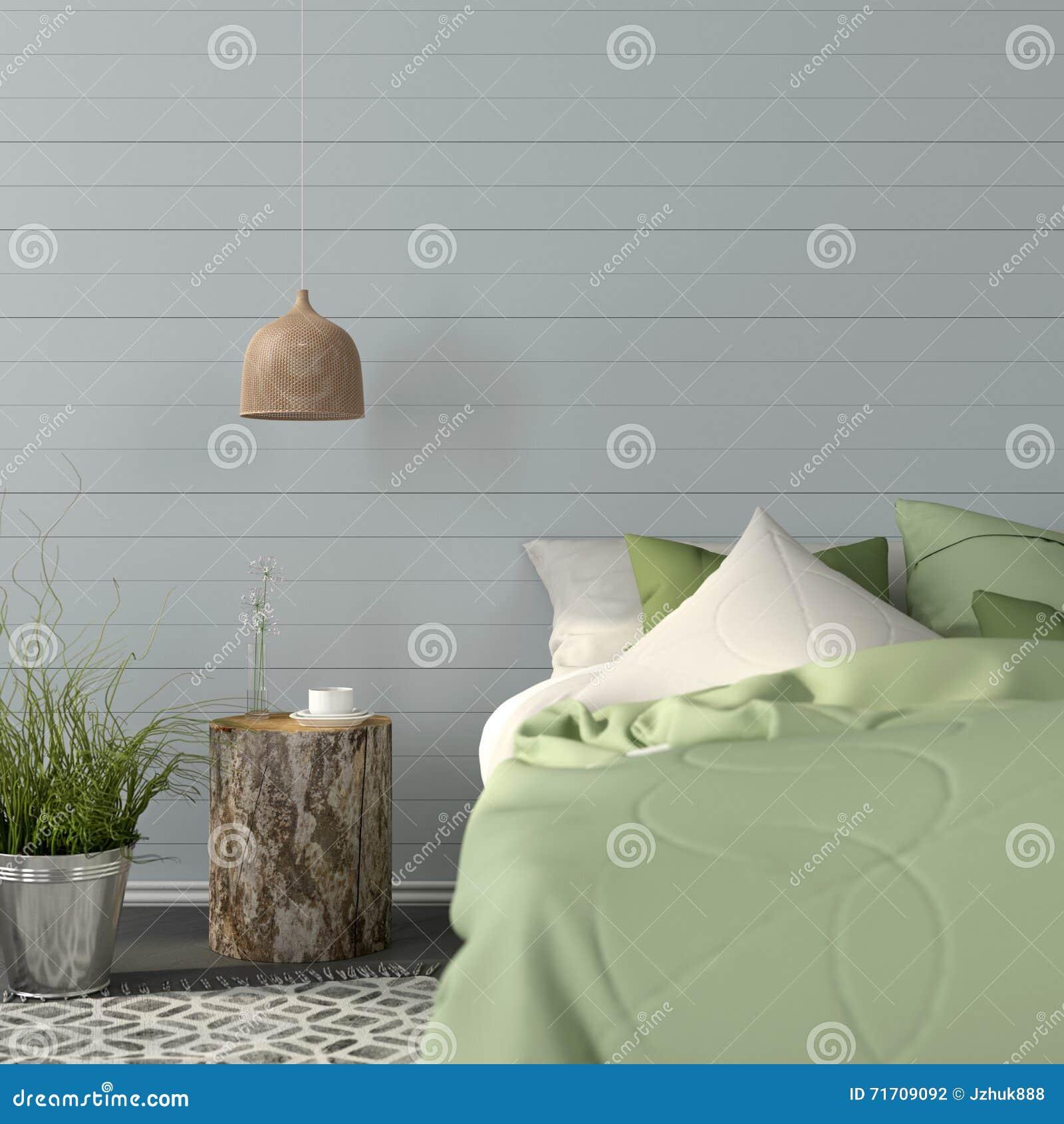 Slaapkamerbinnenland in een groene kleur stock illustratie ...