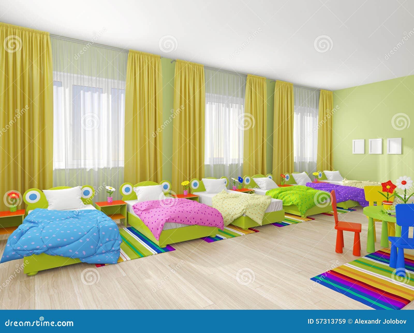 Slaapkamerbinnenland in kleuterschool stock afbeelding