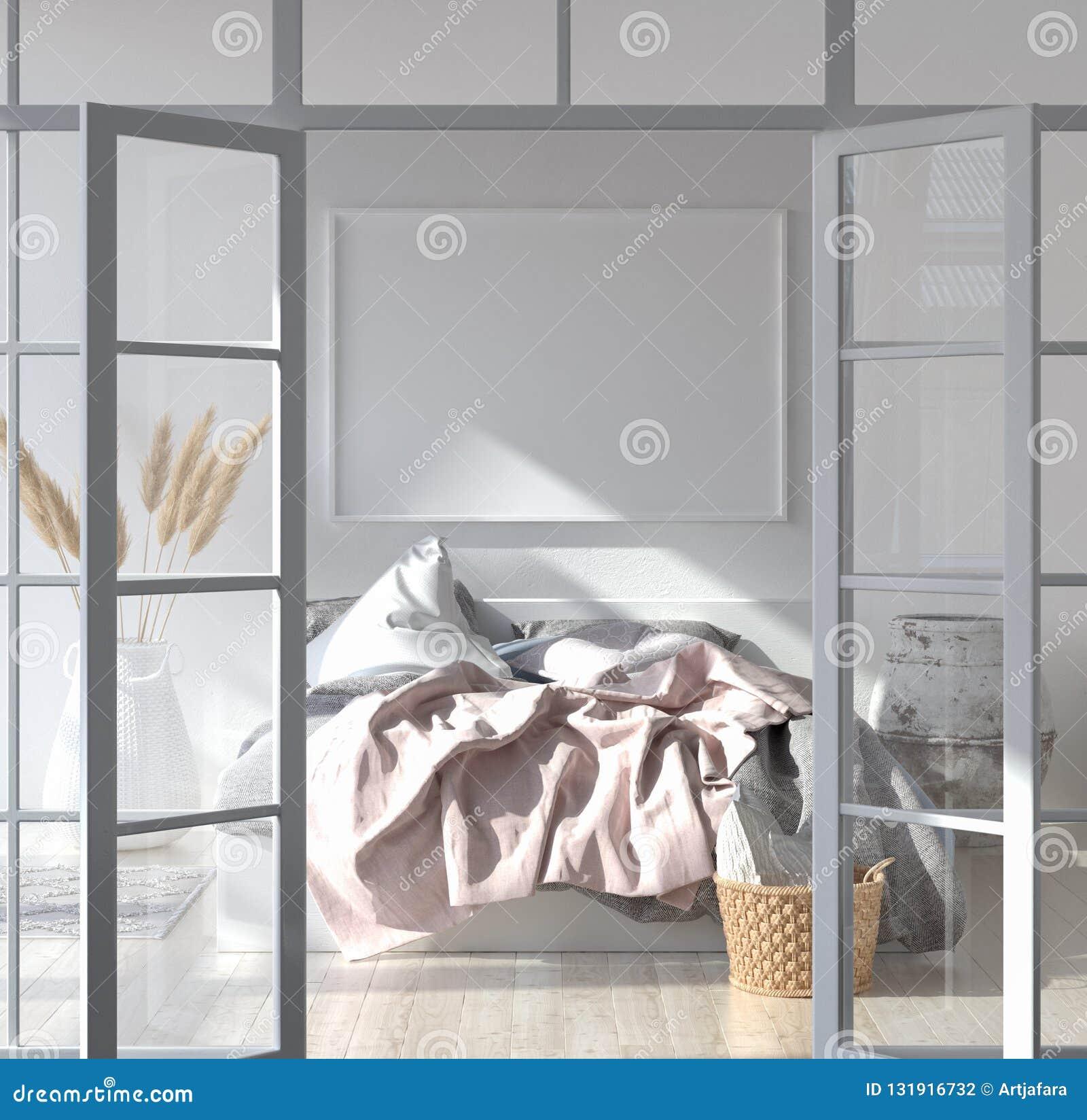 Slaapkamerbinnenland met affichemodel, Skandinavische stijl