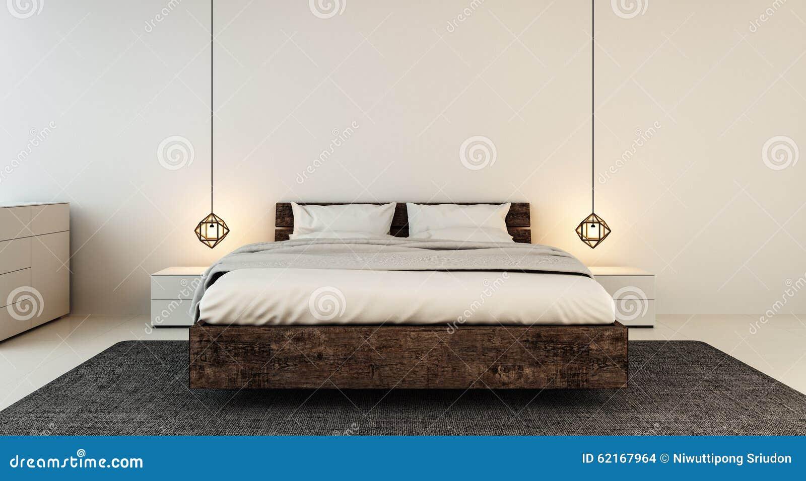 Slaapkamerbinnenland voor moderne huis en hotelslaapkamer