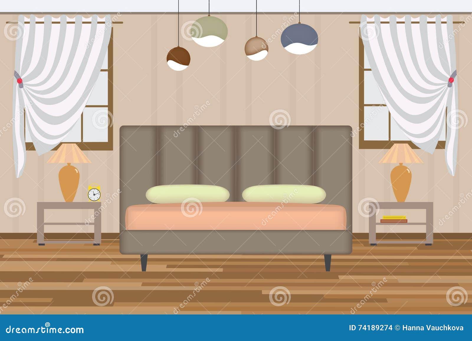 Verhoging In Slaapkamer : Slaapkamerillustratie verhogingszaal met bed zijlijst lamp