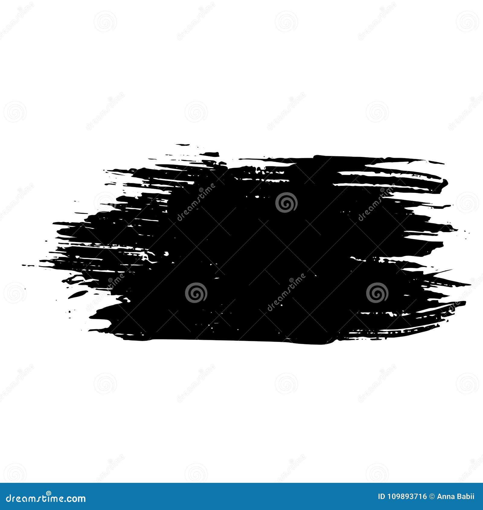 Slag van de inkt de vector droge borstel Vector illustratie Textuur van de Grunge de hand getrokken waterverf Ruimte voor tekst