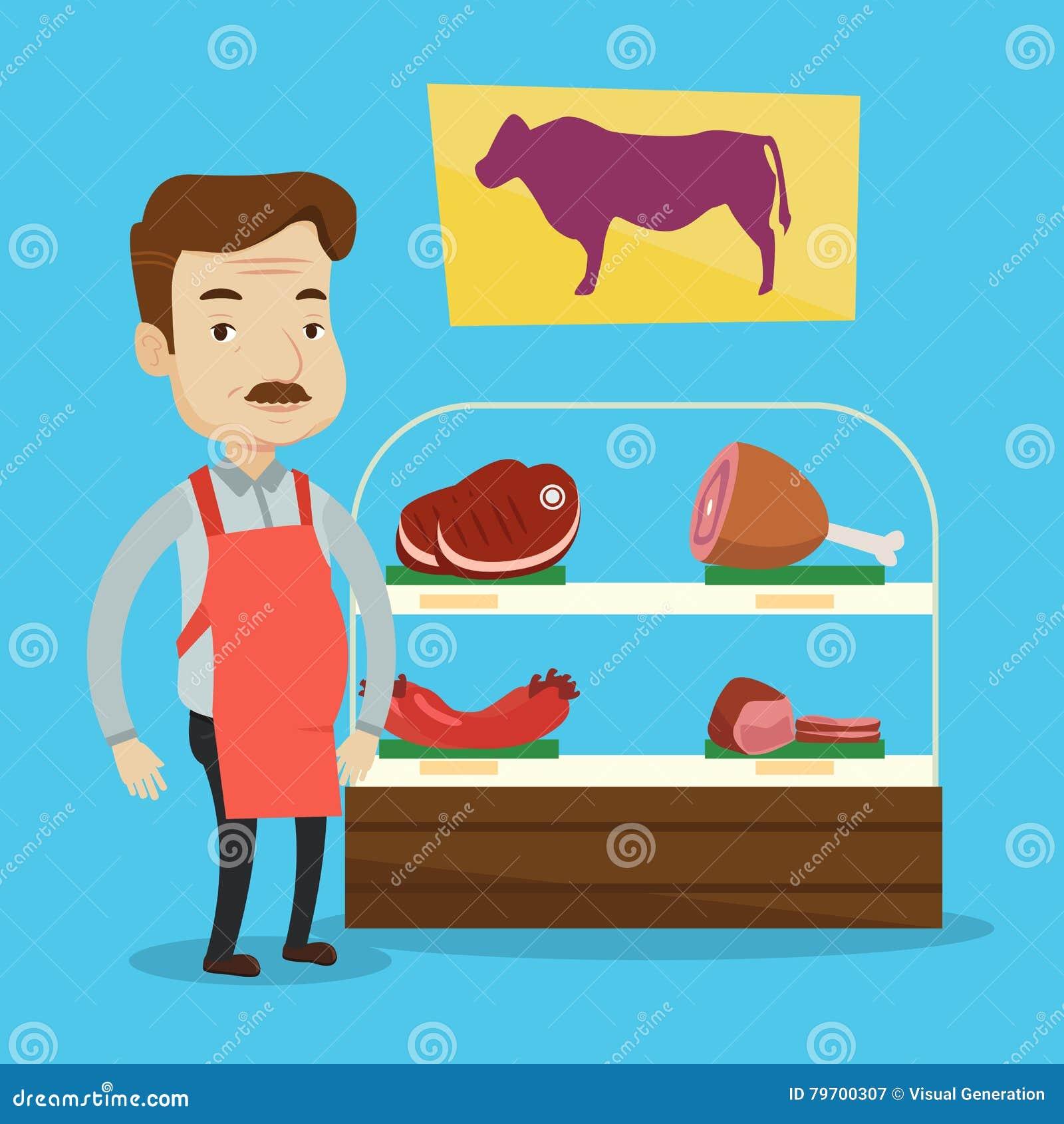 Slager die vers vlees in butchershop aanbieden