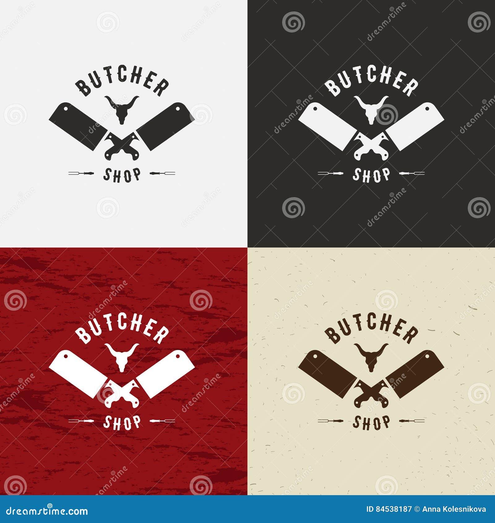 Slager Shop Design Element in Uitstekende Stijl voor Logotype, Etiket, Kenteken, T-shirts en ander ontwerp Koegezicht en messen r