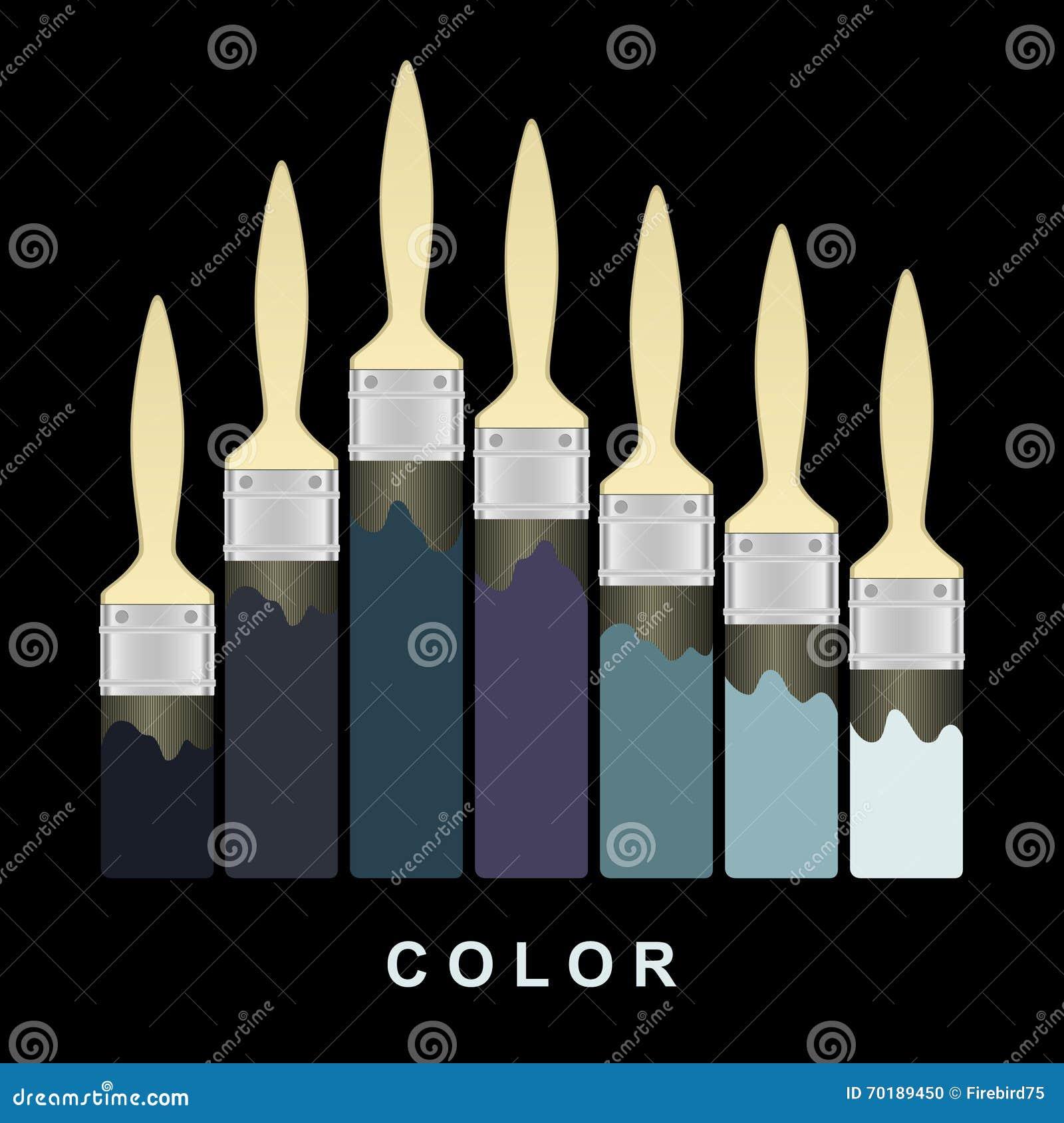 Slaglängder för färgmålarfärgborste på den svarta sidan också vektor för coreldrawillustration