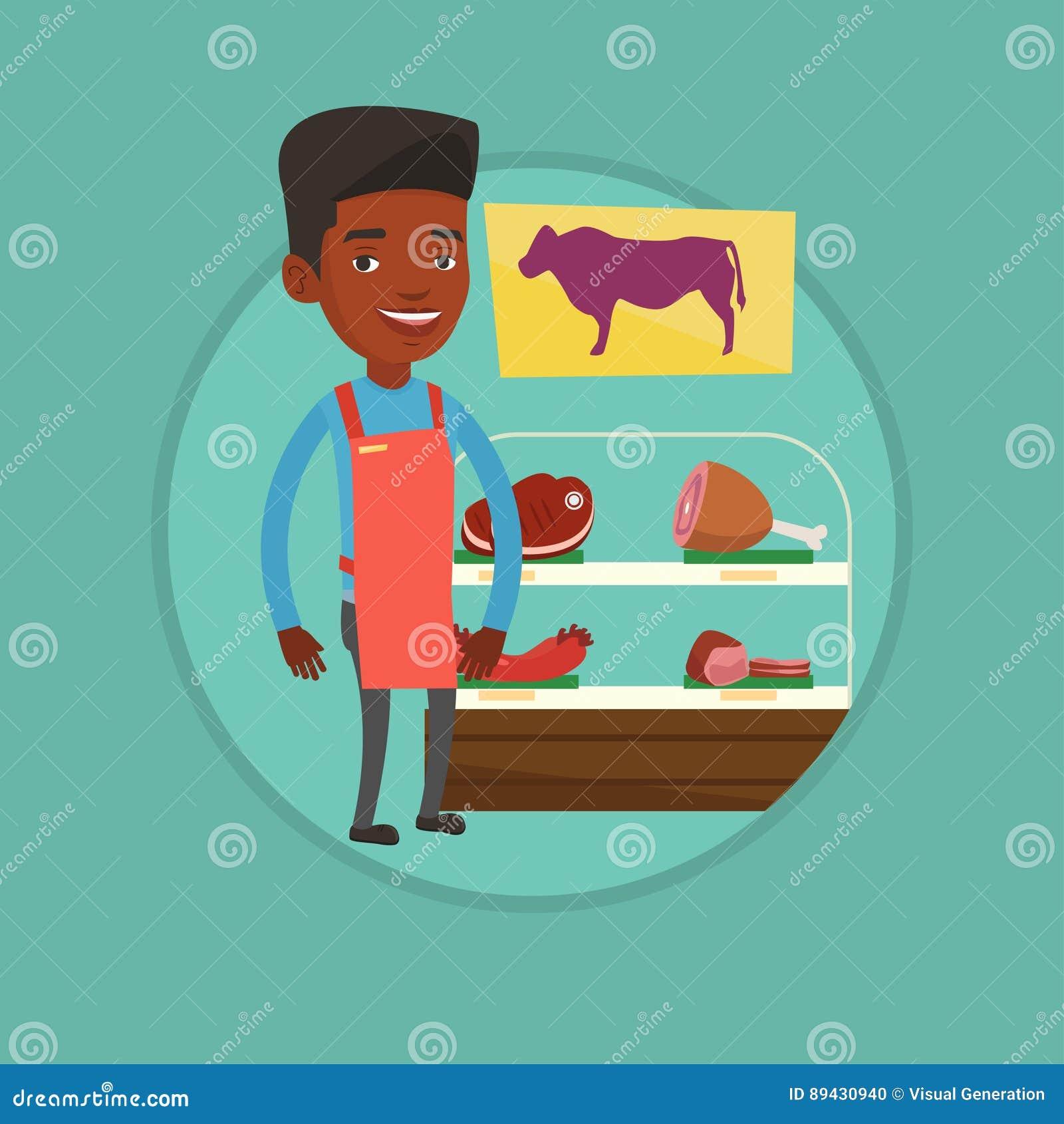 Slaktare som erbjuder nytt kött i butchershop