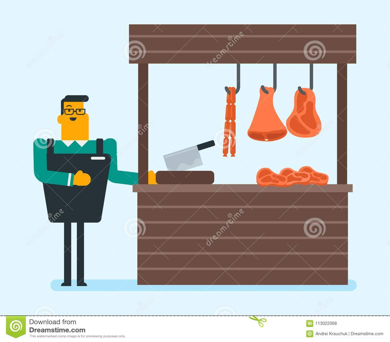 Slaktare som erbjuder nytt kött i slakten