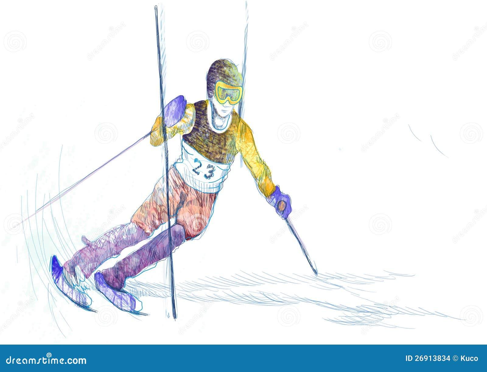 Download Slalom, skier stock vector. Illustration of racing, happy - 26913834
