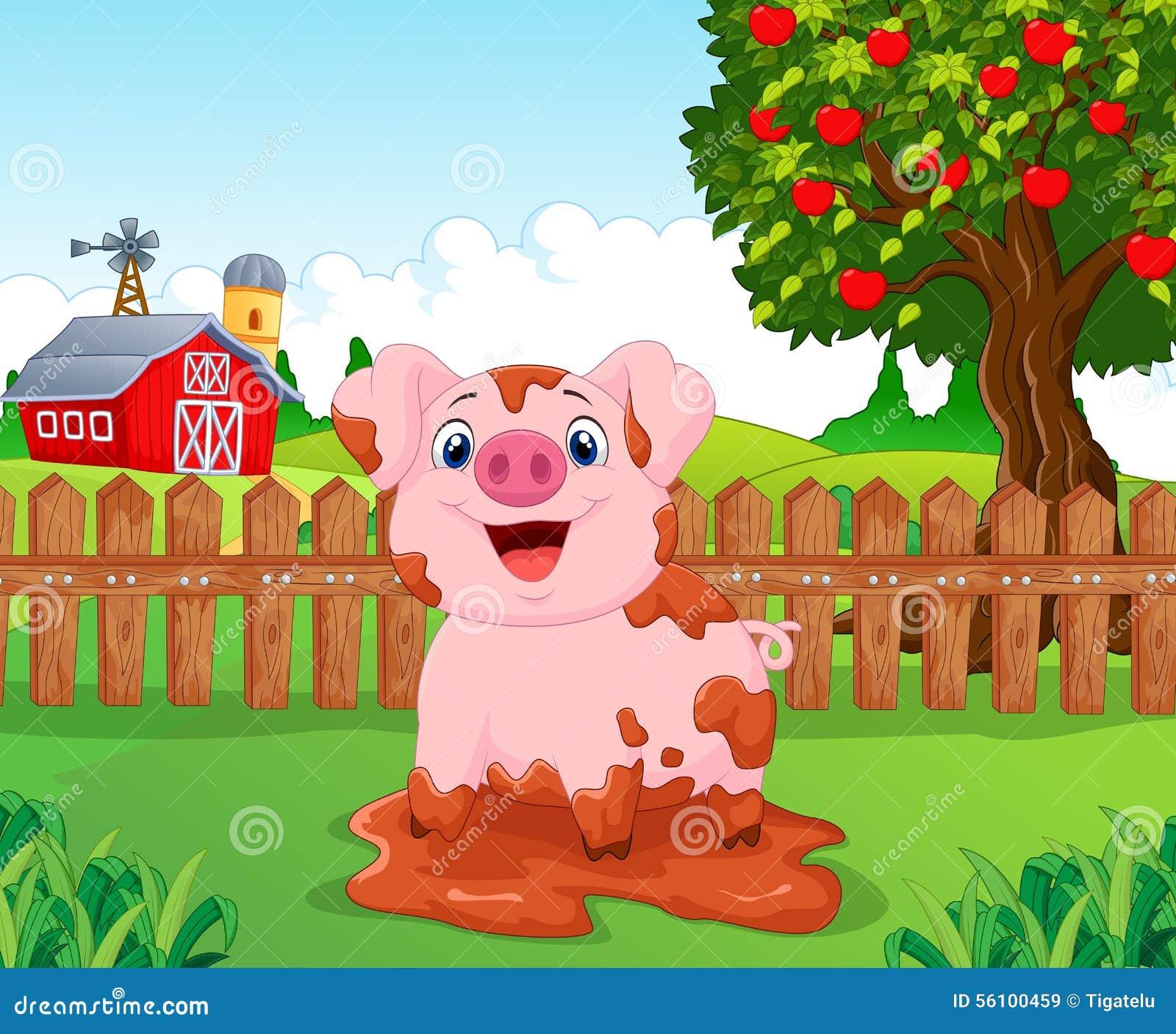 Slam för tecknad filmleksvin i lantgården