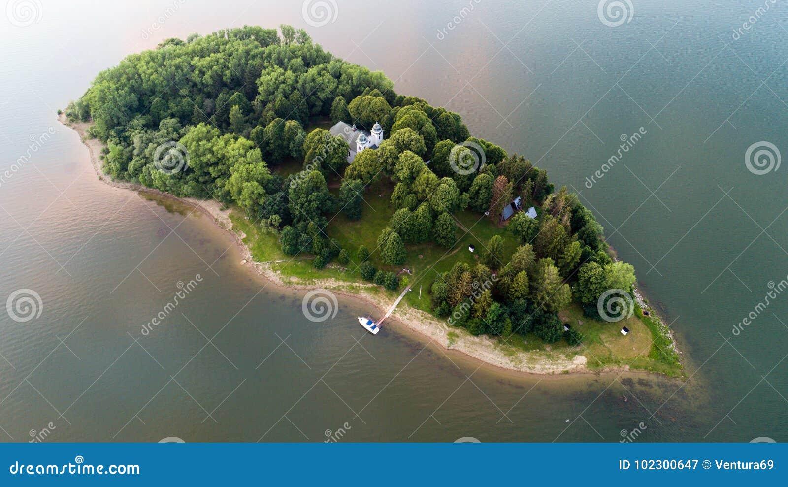 Slanica island on Orava dam, Slovakia