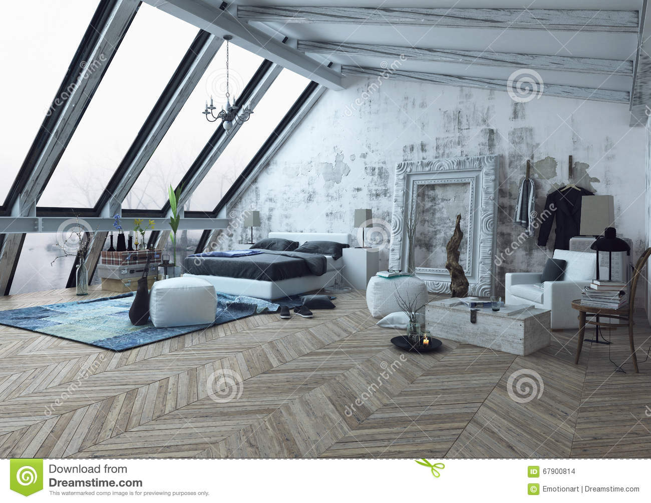 Slanted Ceiling Room With Frame On Wall Stock Illustration