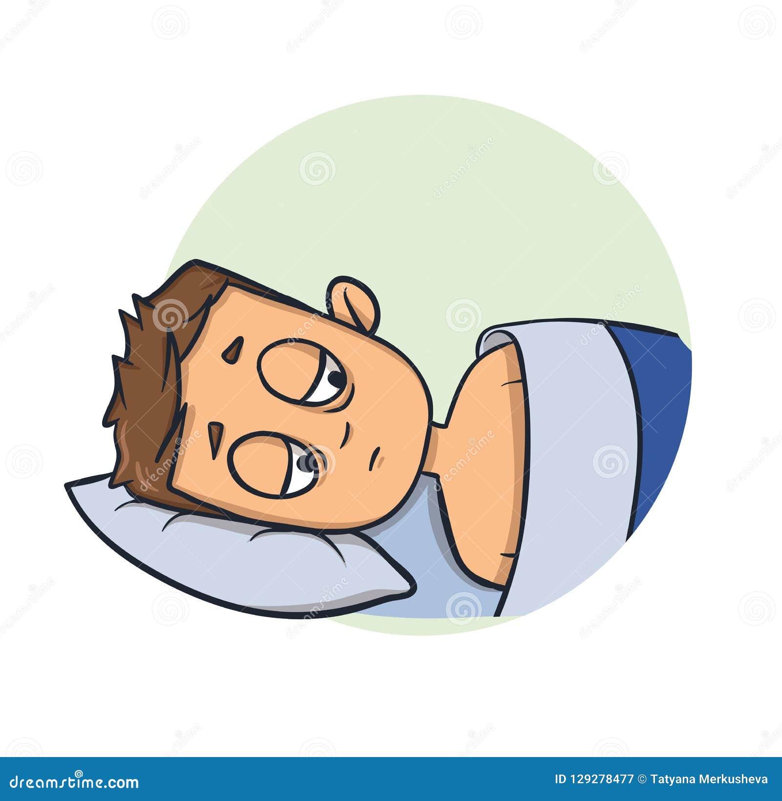 Slapeloze jonge mens die in bed liggen slapeloosheid Het pictogram van het beeldverhaalontwerp Vlakke vectorillustratie Geïsoleer