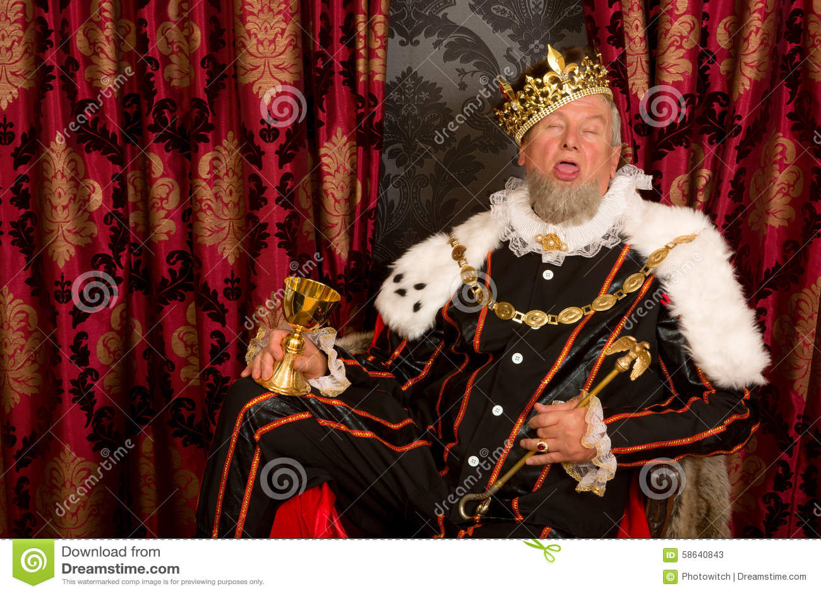 Slaperige gedronken koning