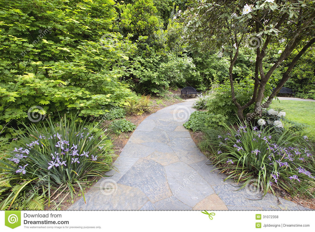Slate Garden Path With Flowering Plants And Trees Royalty