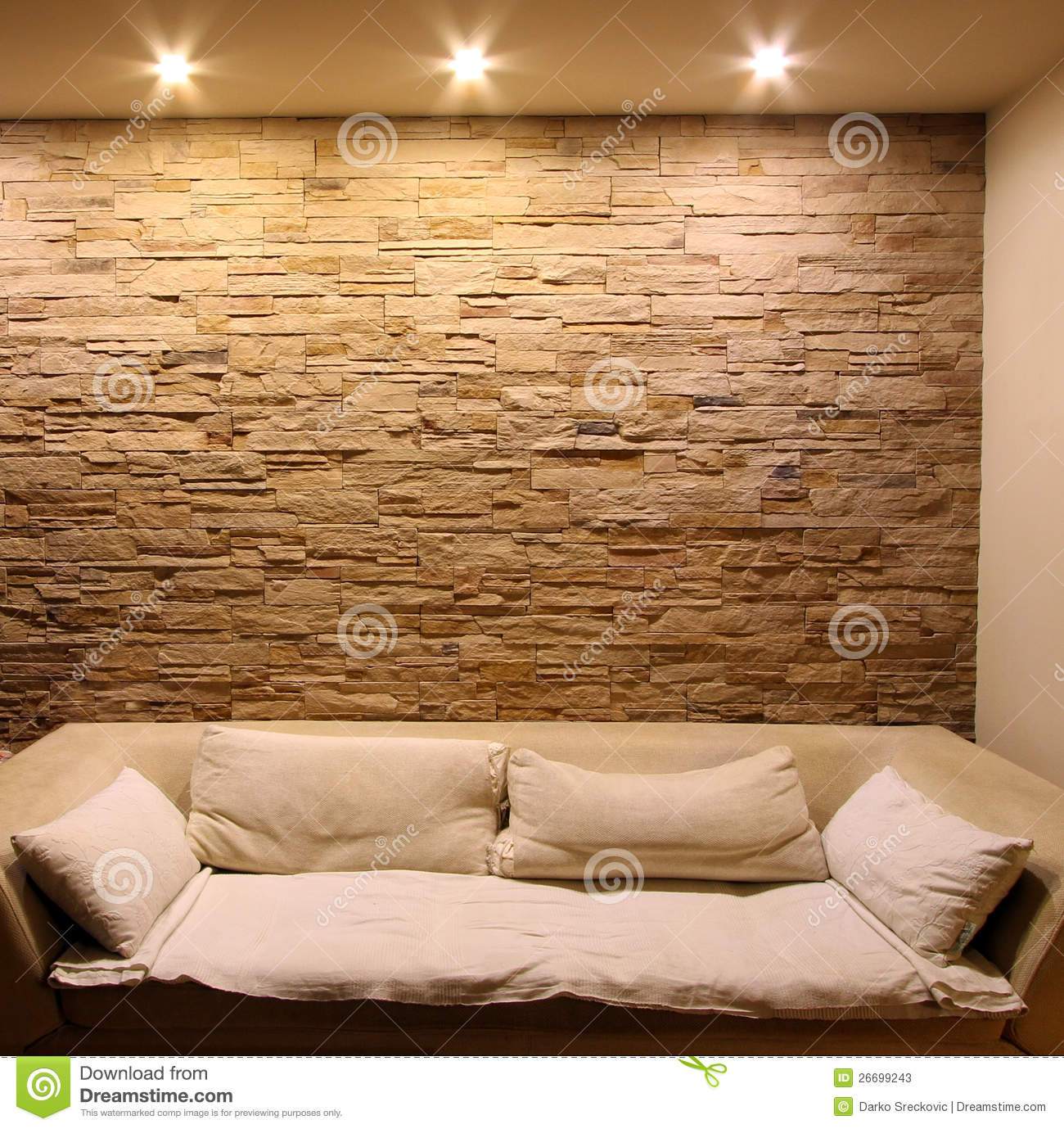 Slate Stone Wall With Couch Stock Photos Image 26699243