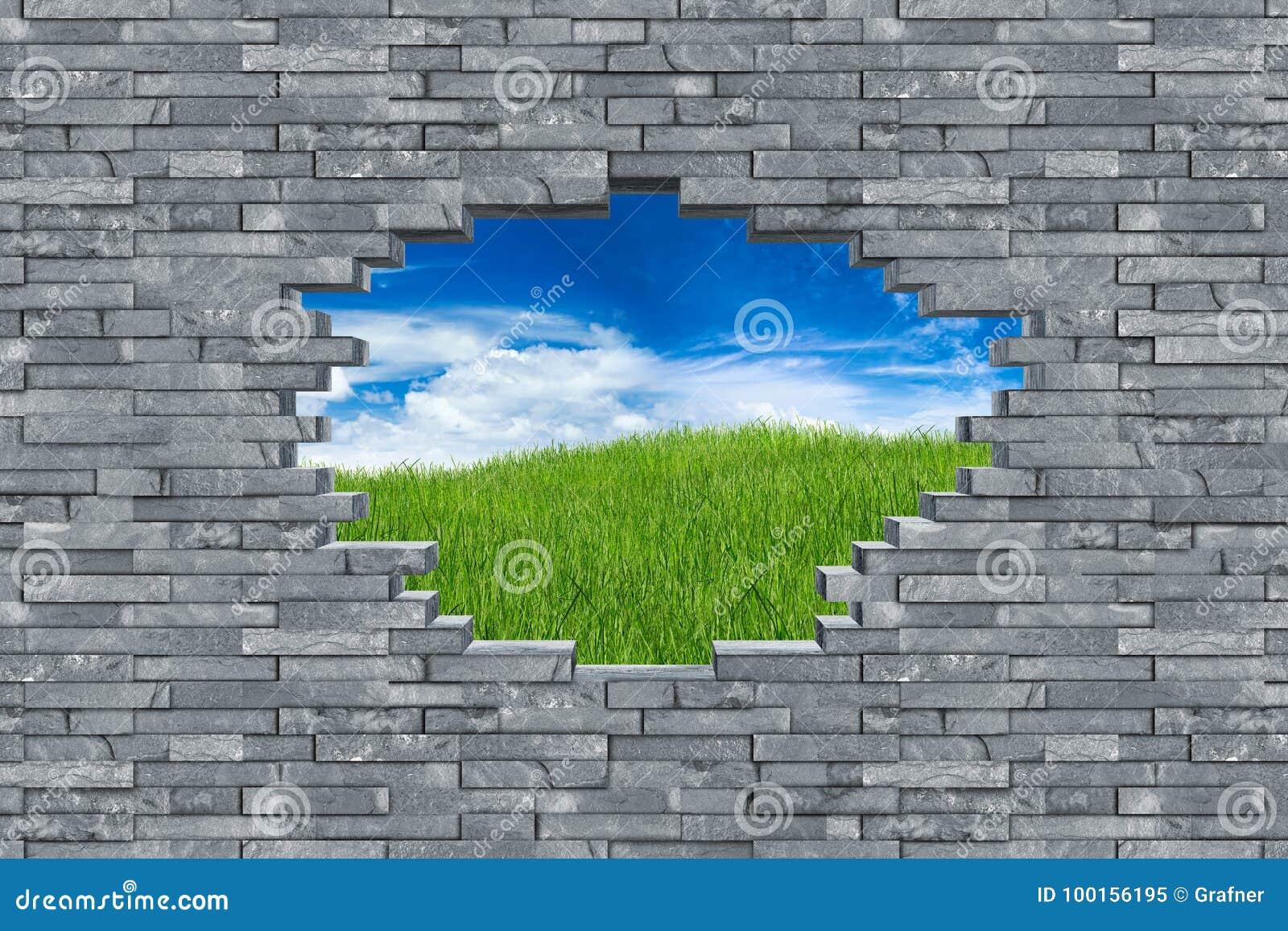 Slate stone wall hole breakout concept