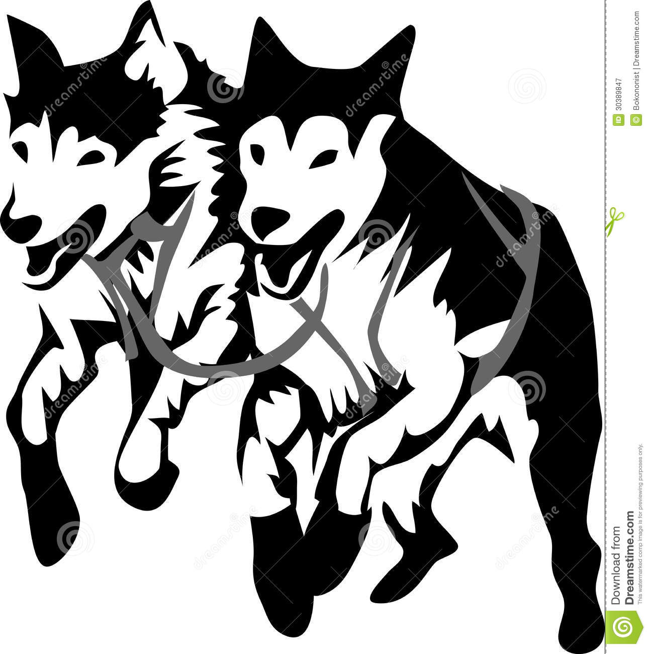 Sled Dogs Stock Vector Illustration Of Trail Sleigh