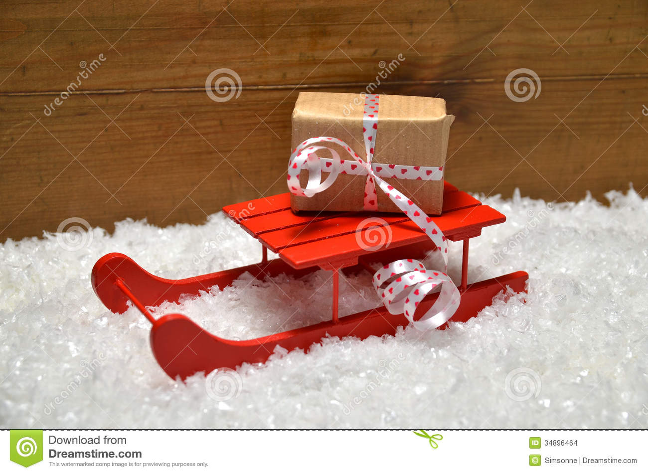 Wooden Sled Decoration Christmas