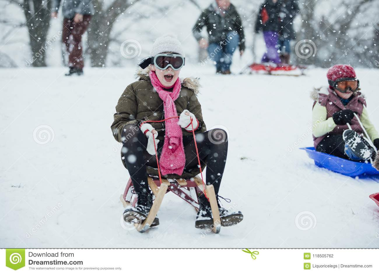 Sledding Down the Hill stock photo. Image of christmas - 118505762