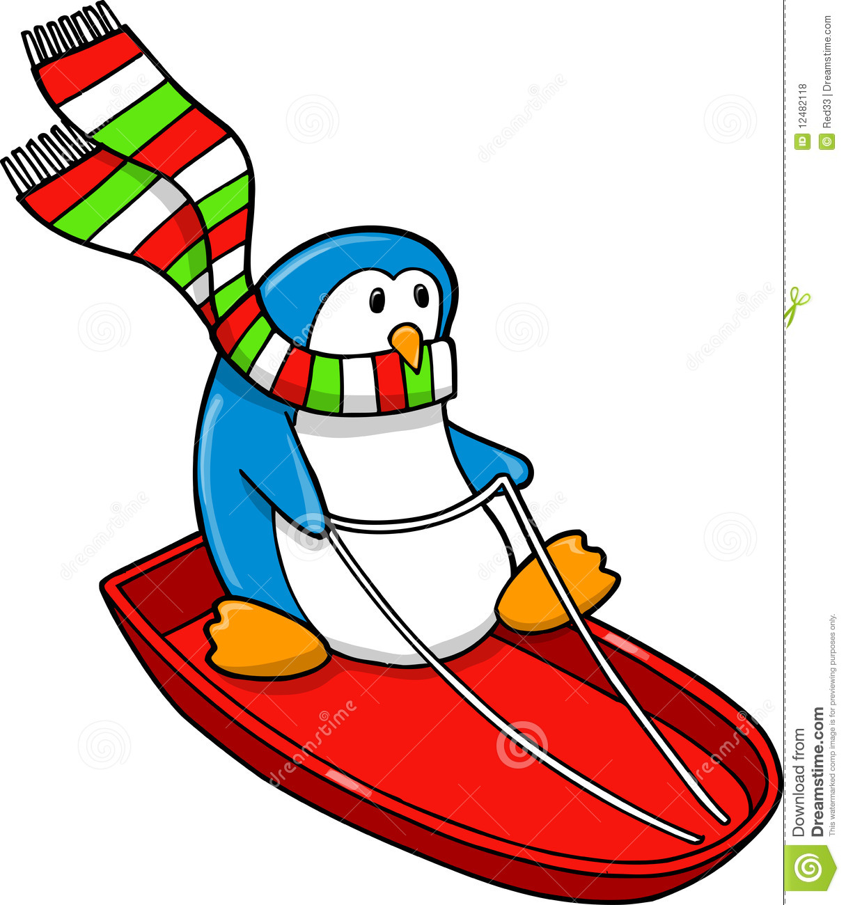 Sledding Holiday Penguin Royalty Free Stock Photos - Image: 12482118