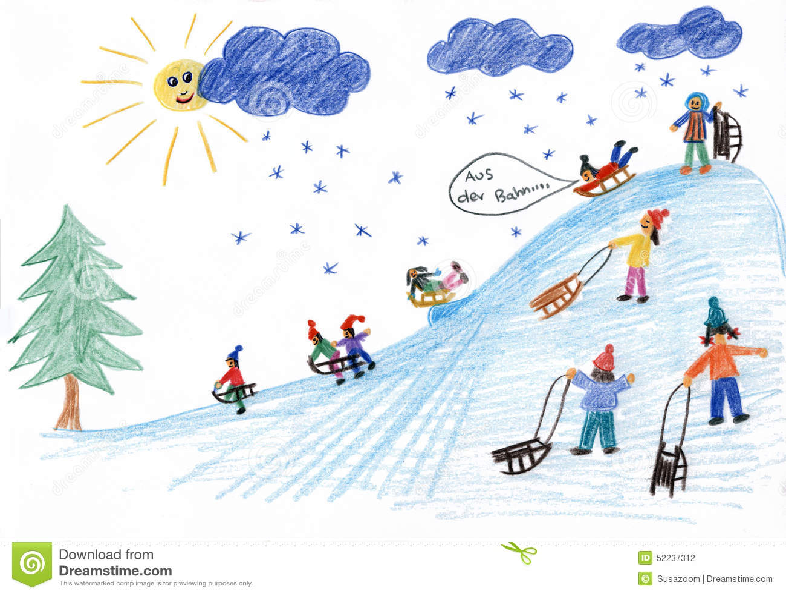 Sledding Kids On The Hill Children Painting Stock Illustration