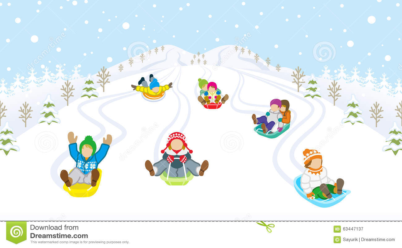 sledding kids in snowy mountain stock vector winter scene clip art black and white winter scenes clipart modern
