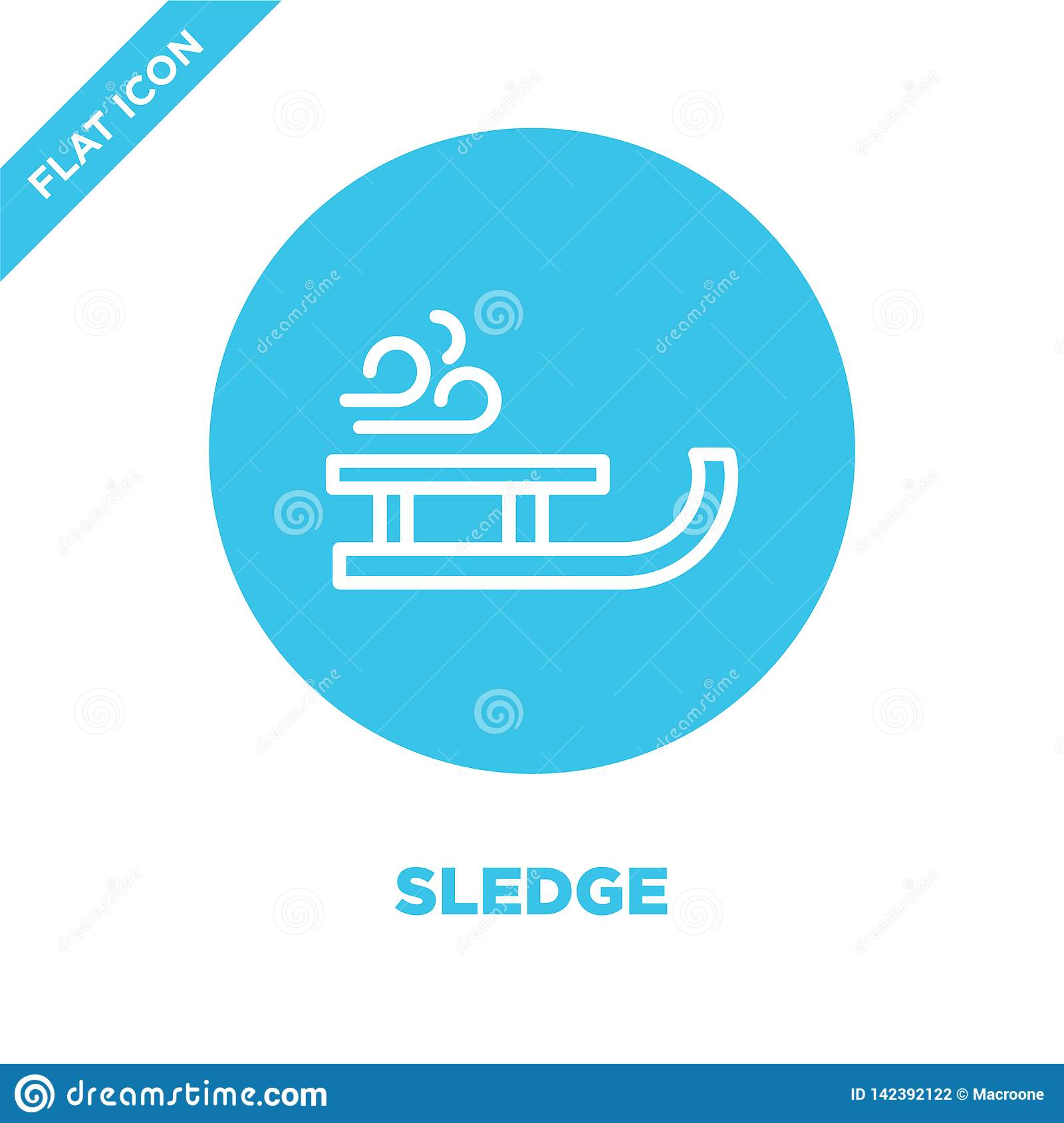 sledge icon vector from seasons collection. Thin line sledge outline icon vector  illustration. Linear symbol for use on web and