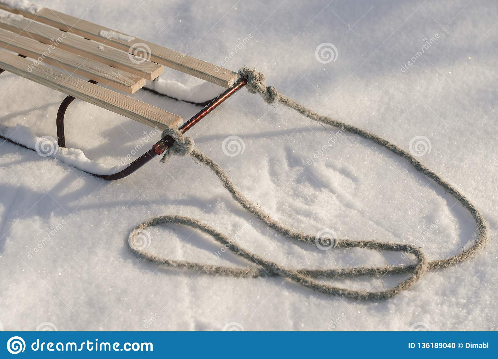 Sledge in Snow, Winter Holidays.