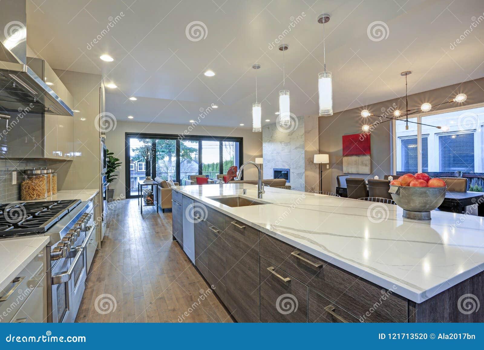 Sleek Modern Kitchen Design With A Long Center Island