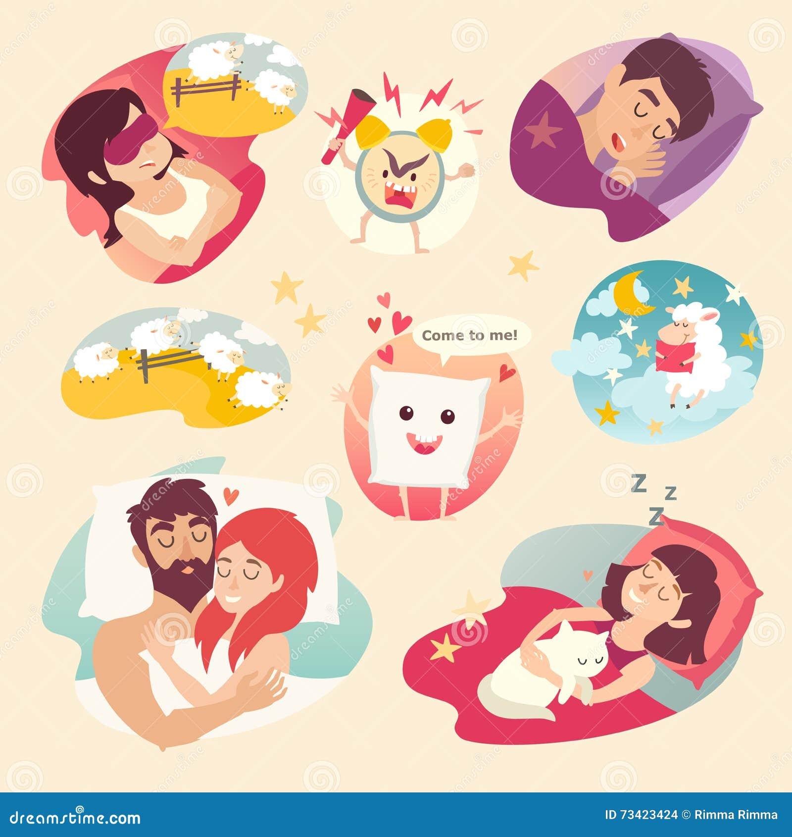 Sleep Design Concept Cartoon Alarm Clock Insomnia Pillow Sleeping Boy And Girl