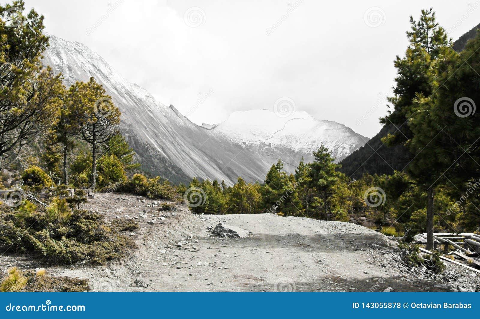 Sleep hig omhoog in Annapurna/Himalayagebergte