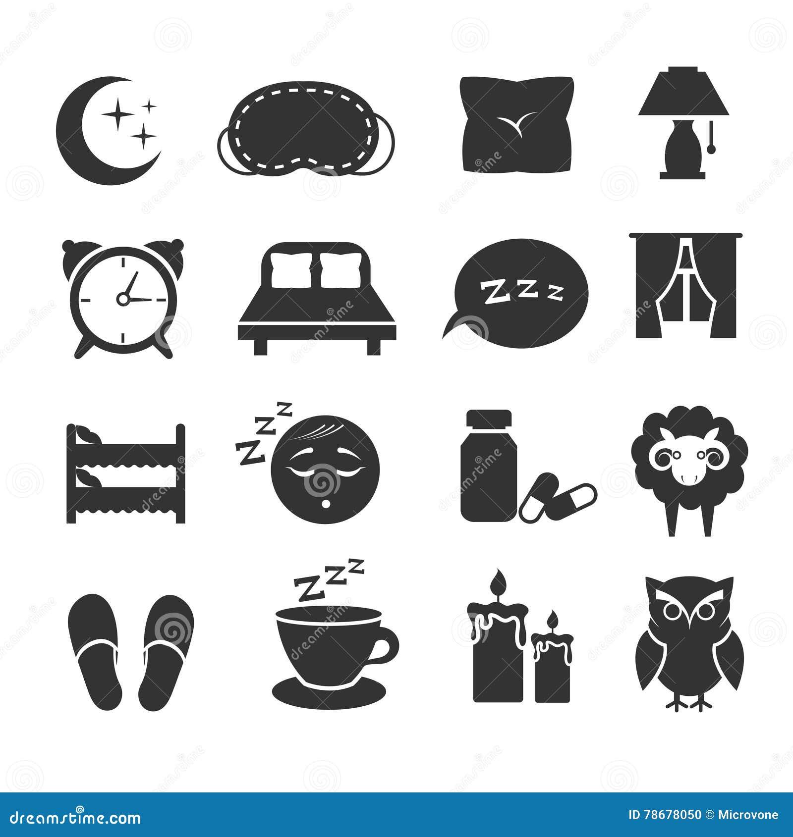 Sleep night relax pillow bed moon owl zzz vector icons sleep night relax pillow bed moon owl zzz vector icons sleeping symbols set biocorpaavc