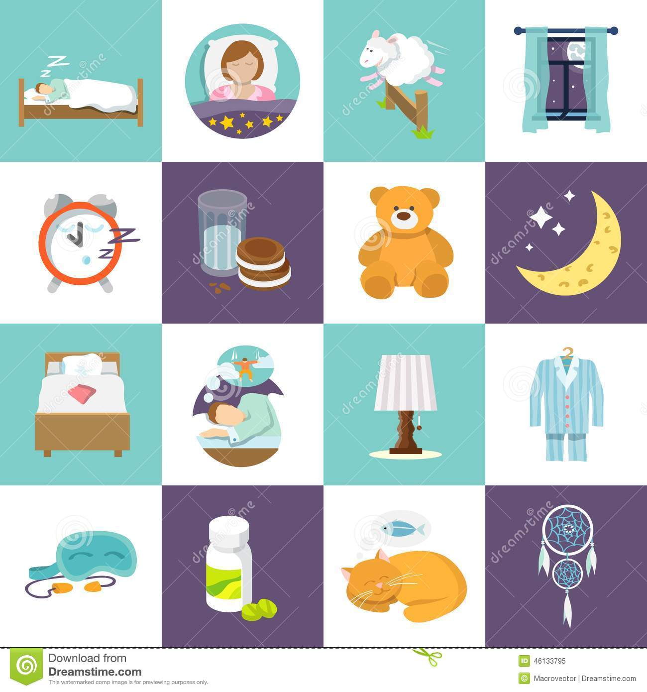Sleep Time Icons Flat Stock Vector Illustration Of