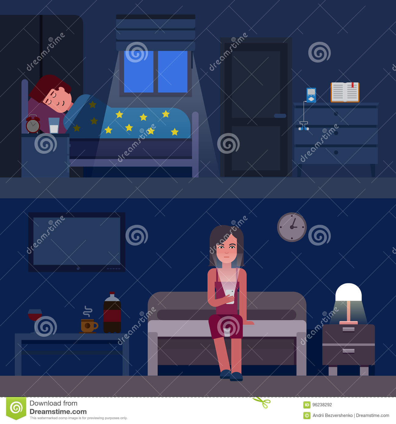 Sleep time infographics vector flat illustration. Infographic How to get better sleep. Insomnia and good sleep flat