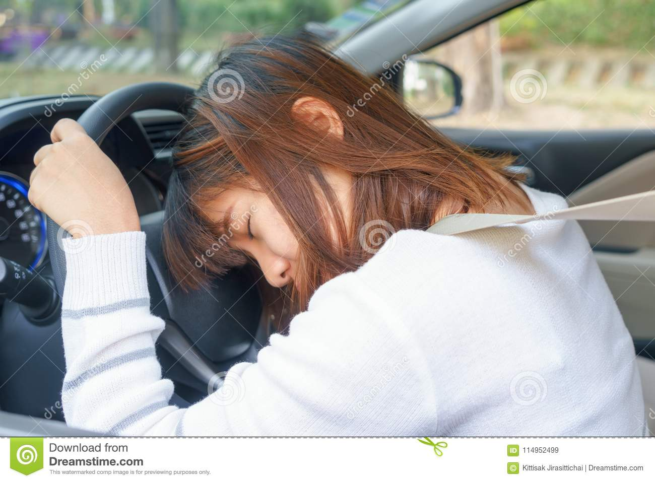 Sleep, Tired, Close Eyes Young Woman Driving Her Car After