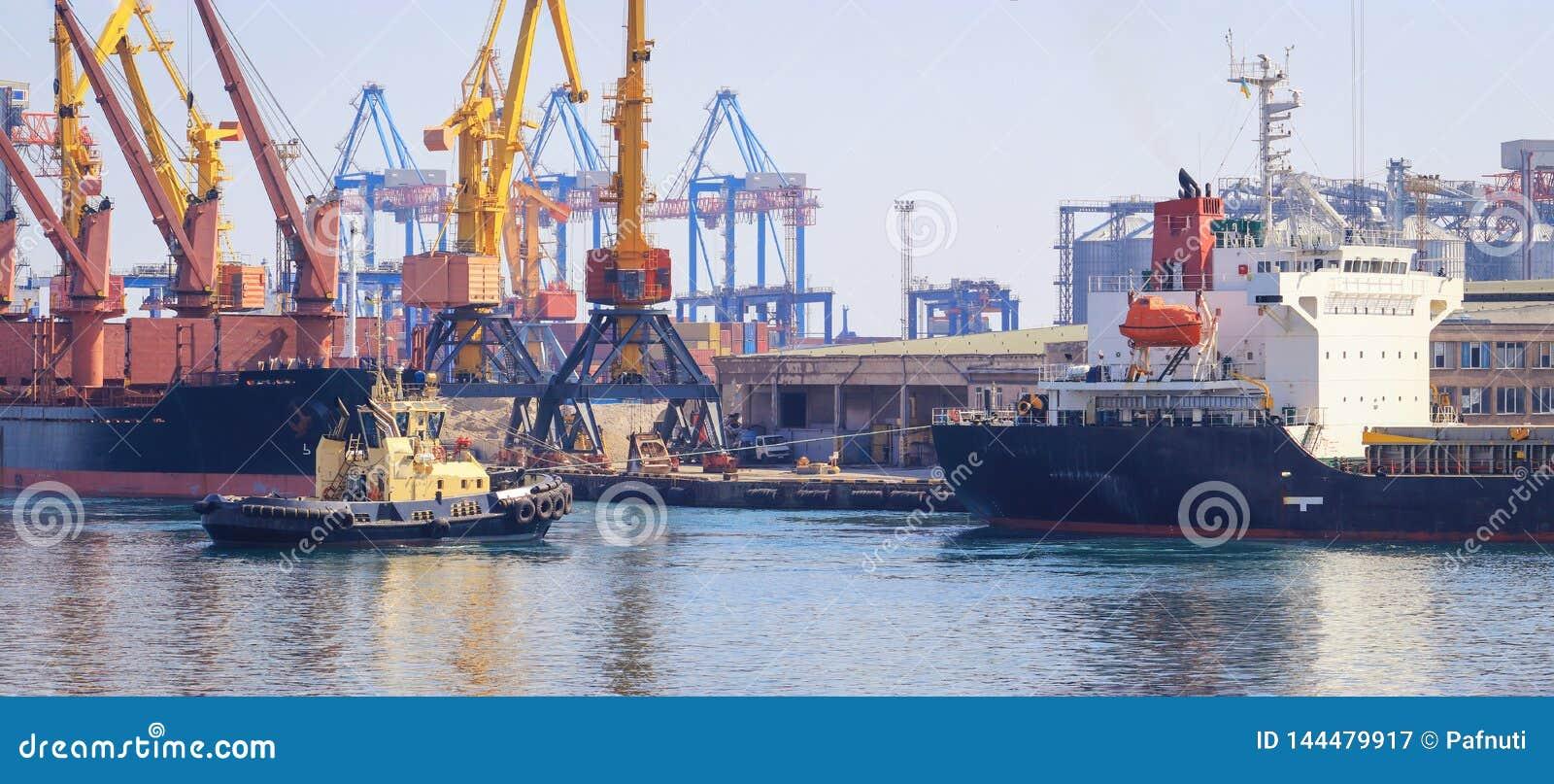 Sleepboot bij de boog die van vrachtschip, het schip bijstaan om in Haven te manoeuvreren