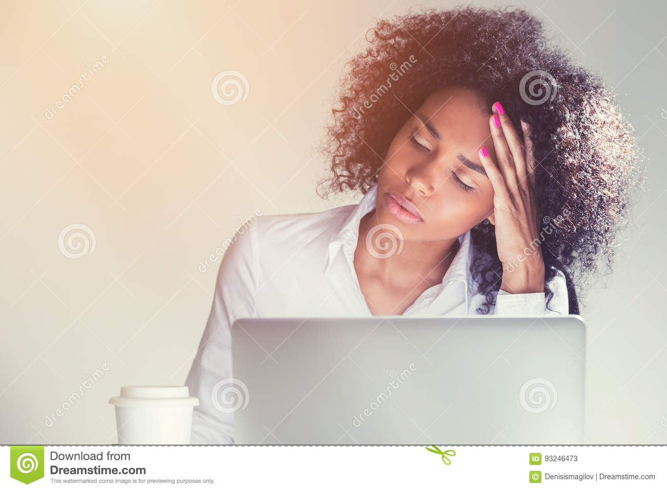 Download Sleeping African American Woman At Work Stock Image - Image of computer, fail: 93246473