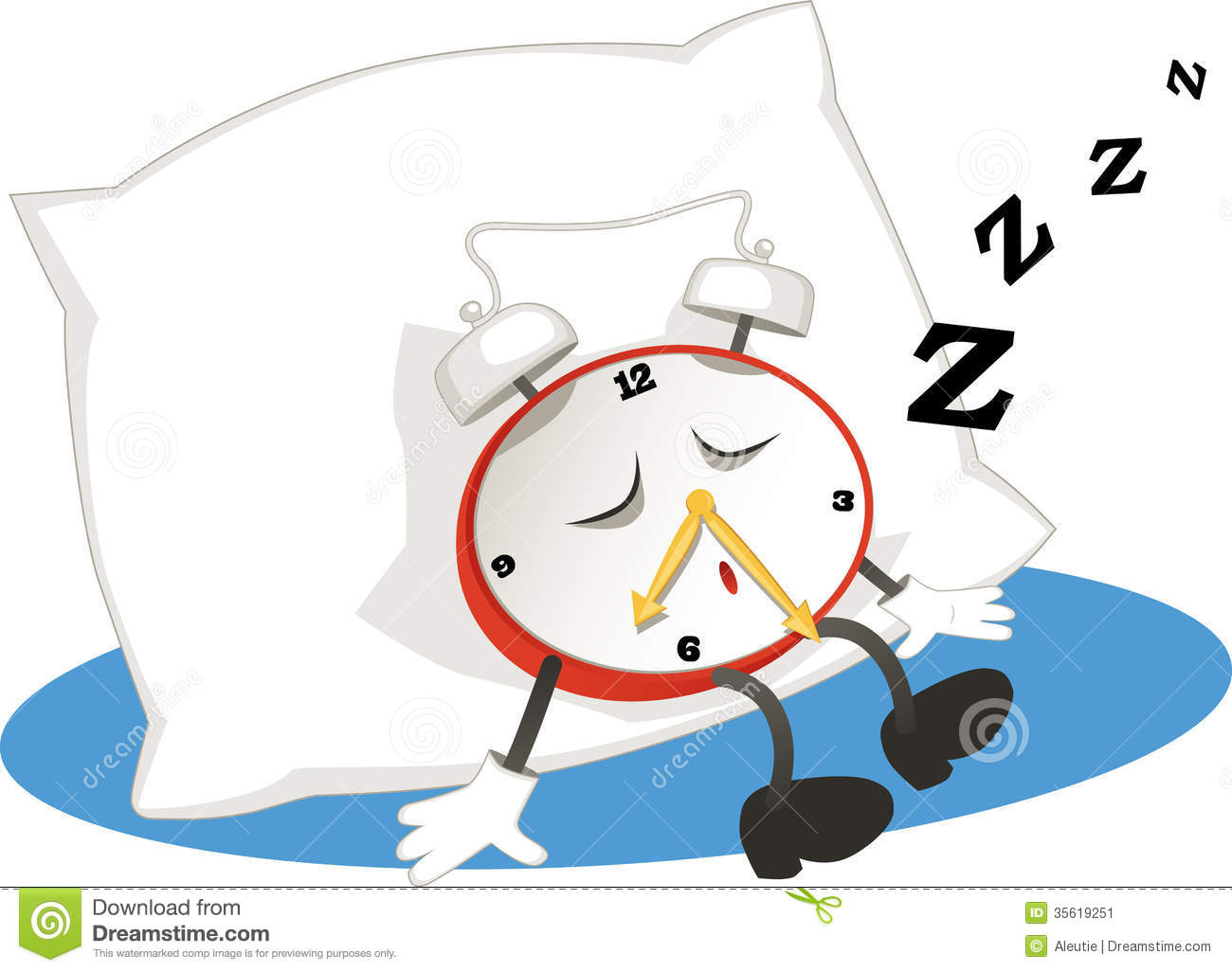 Bedroom Alarm Clock Sleeping Alarm Clock Stock Vector Illustration Of Awake