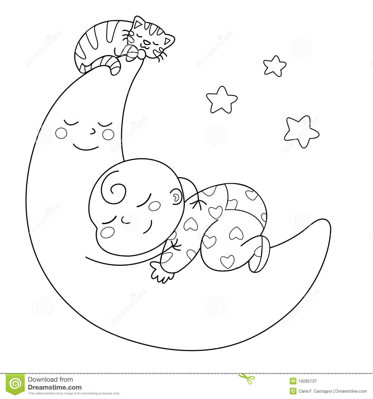 Sleeping baby stock vector. Illustration of moon, white ...