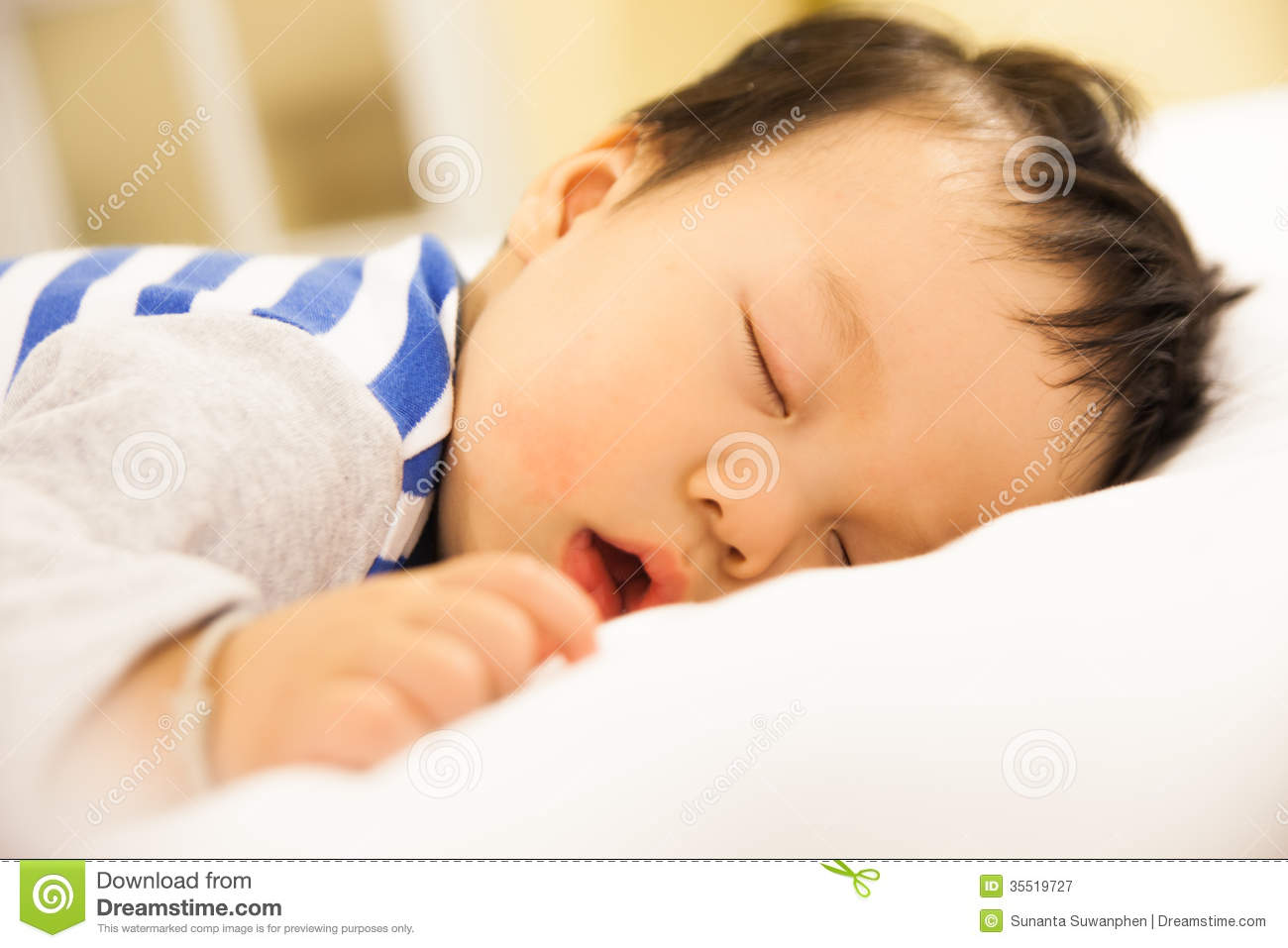 Sleeping Baby Boy On The Bed Stock Image - Image of cute ...