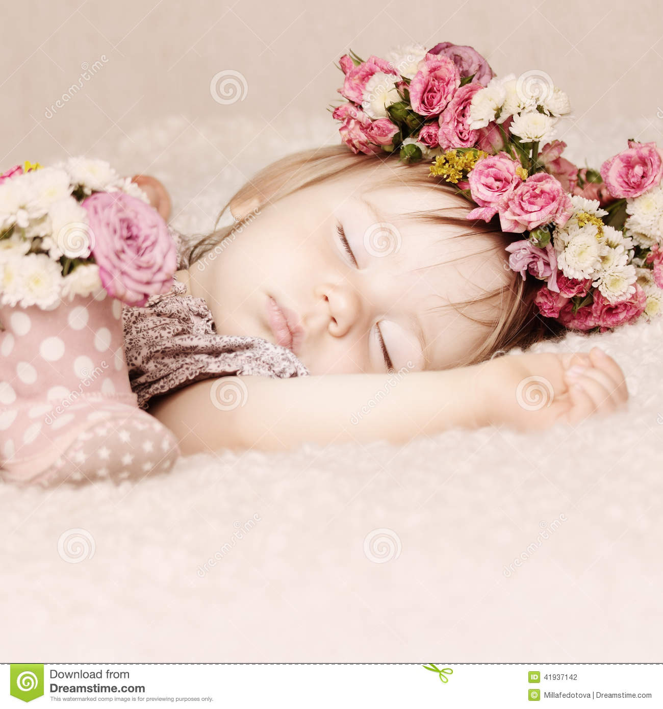 Sleeping Baby Girl In Flowers Beautiful Vintage Background Stock Photo Image Of Background Sleeping 41937142