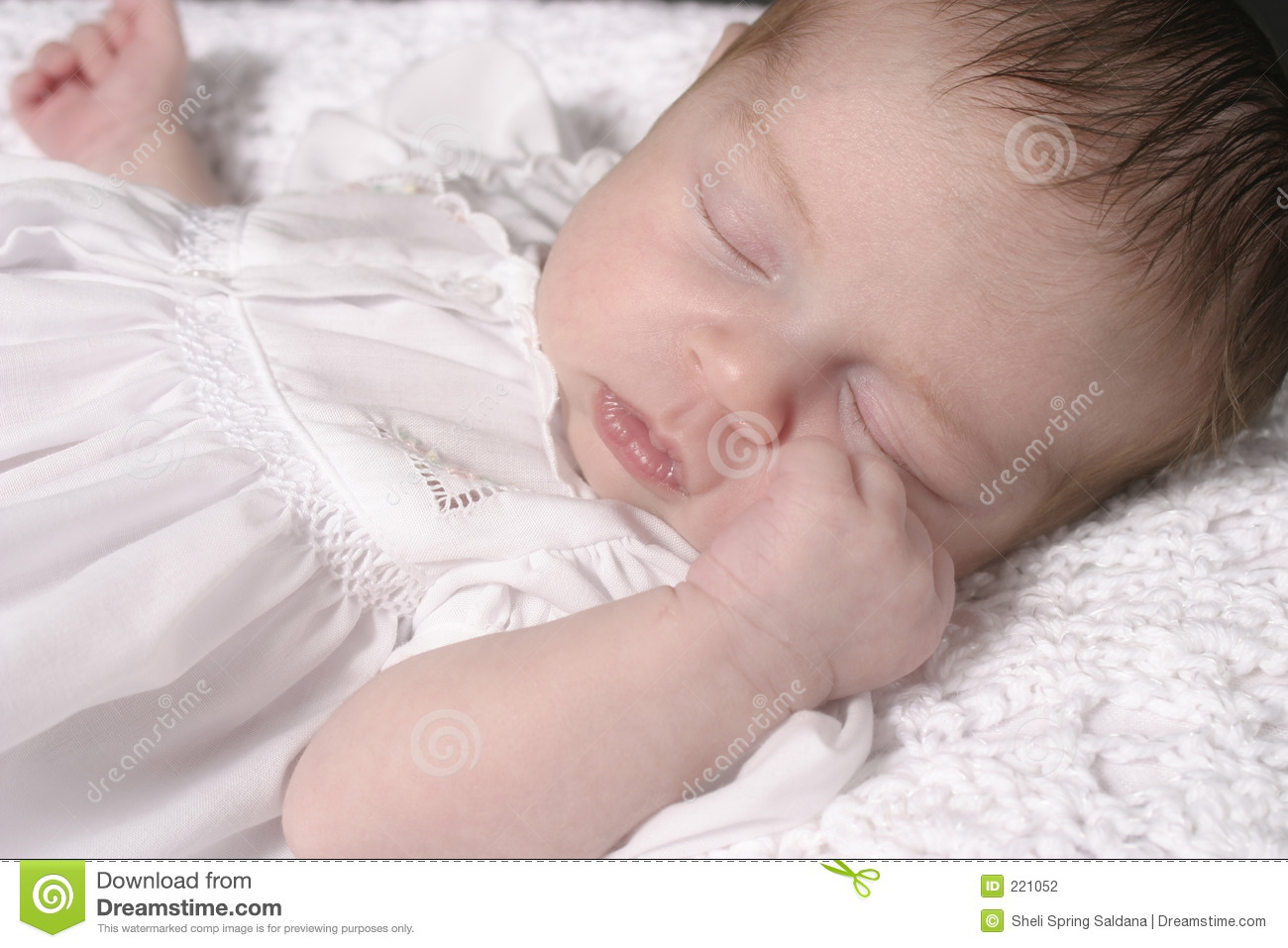 Sleeping Baby Girl In White Dress Stock Photography ...