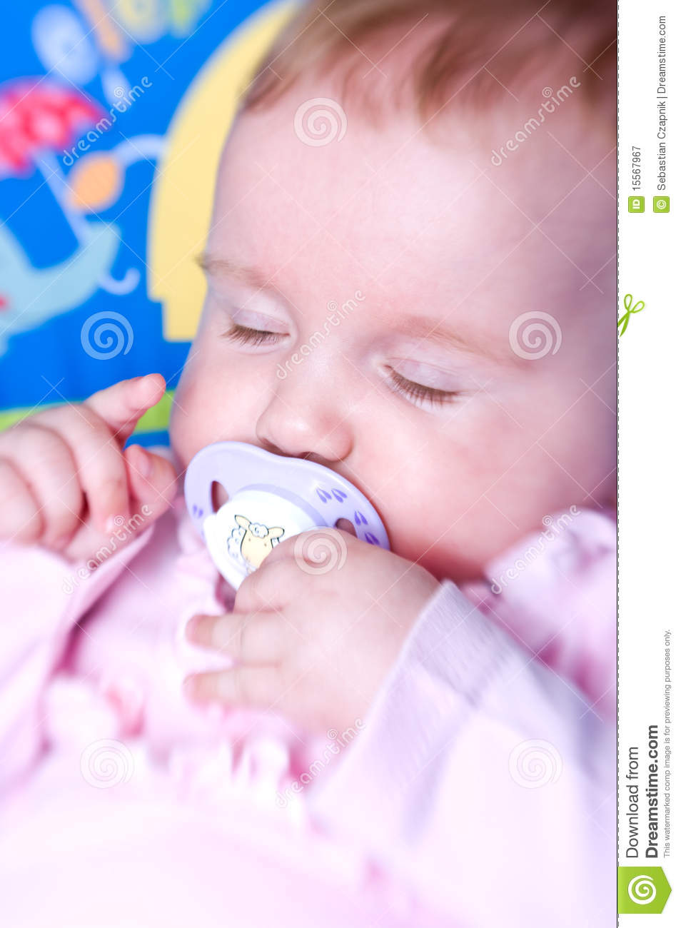 Sleeping Baby With Pacifier Royalty Free Stock Photography