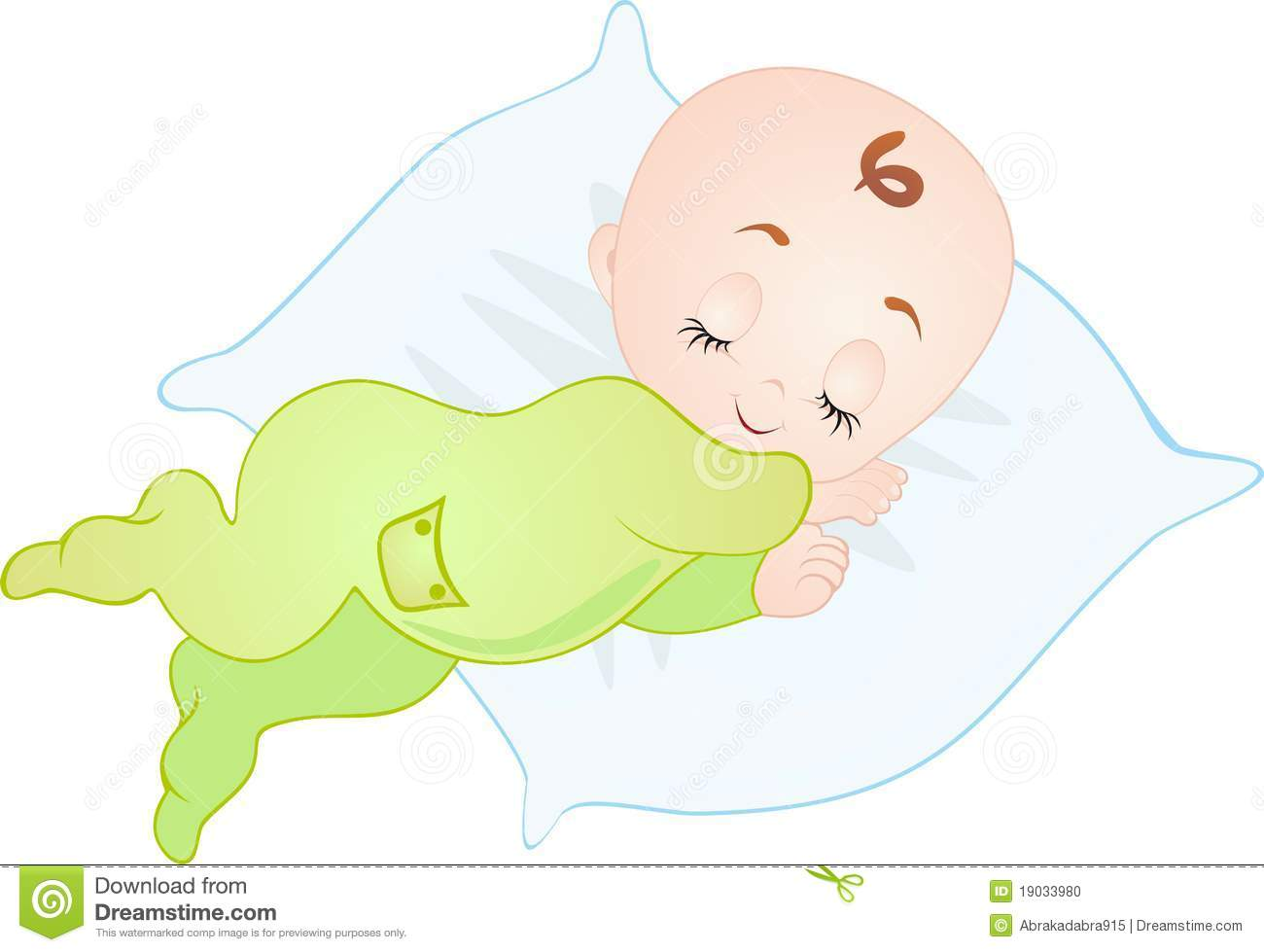 Newborn baby sleeping. Vector Illustration isolated on white.
