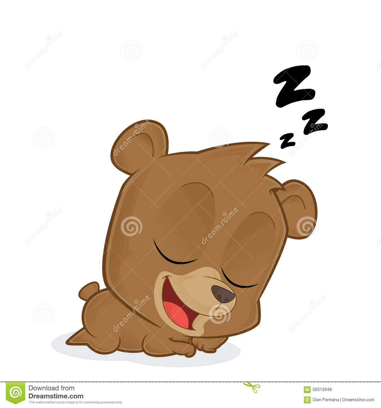 Clipart picture of a sleeping bear cartoon character.