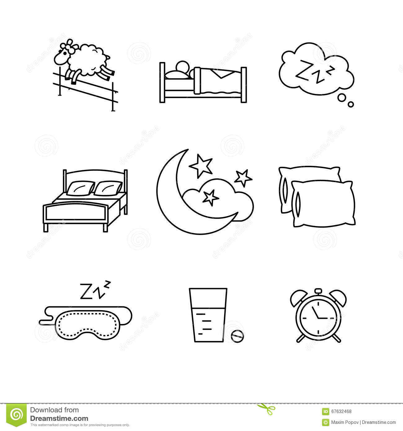 Sleeping, Bedtime Rest And Bed Stock Vector - Illustration