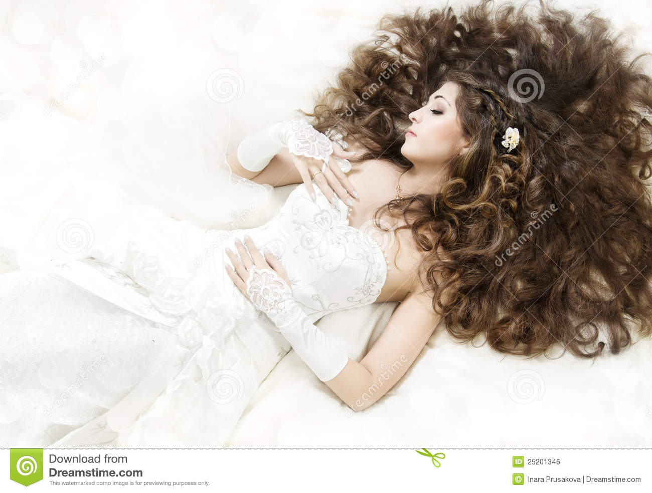 Sleeping Bride With Long Curly Hair Lying Down Stock Photo - Image ...